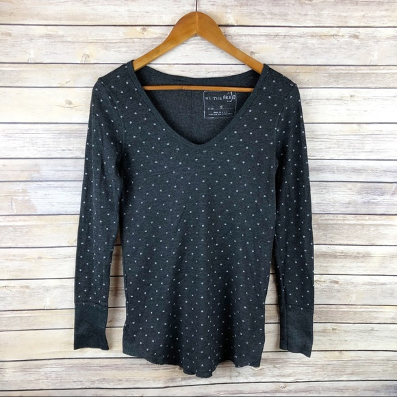 Free People Tops - Free People Vintage Printed Polka Dot Thermal Top
